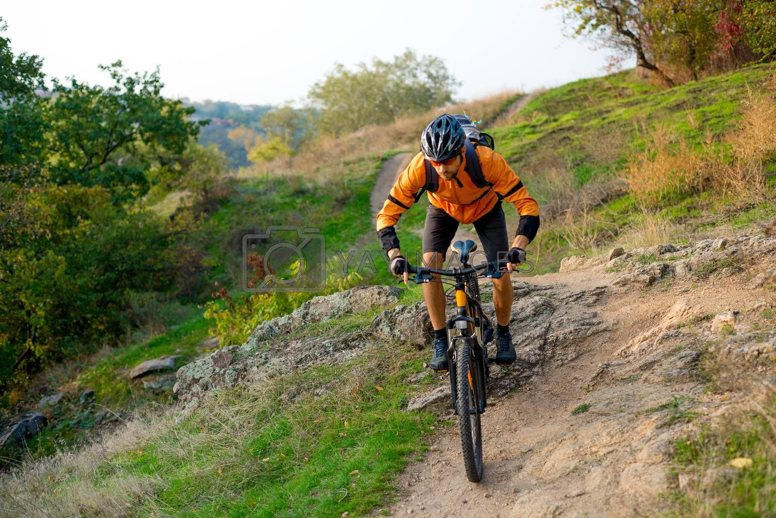 Cyclist in Orange Riding the Mountain Bike on the Autumn Rocky Trail. Extreme Sport and Enduro Biking Concept. by maxpro