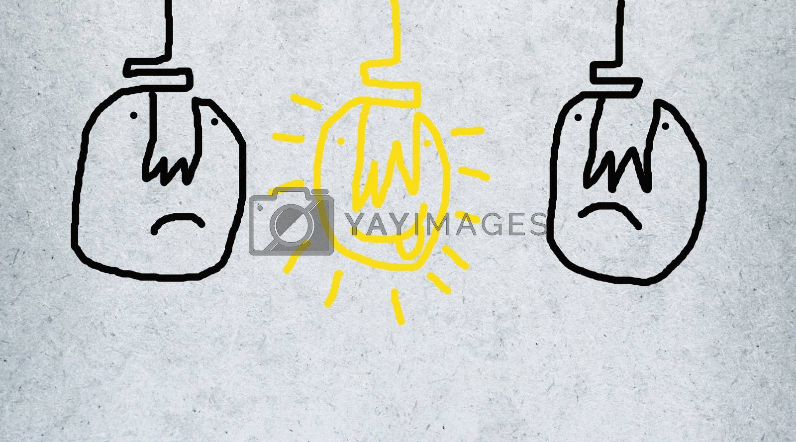Easy brush paint on gray background. Cute light bulb idea. Happy by Bowonpat