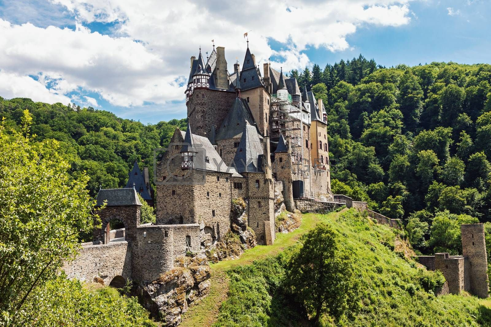 Medieval Eltz Castle in the hills above the Moselle River between Koblenz and Trier, Germany