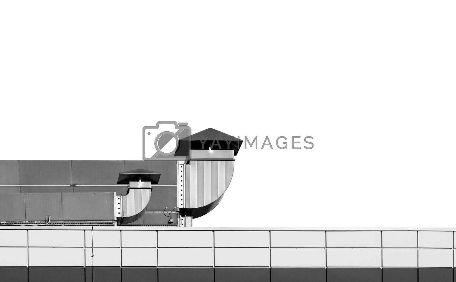 Industrial building roof with ventilation chimneys on white back by Vaidas Bucys