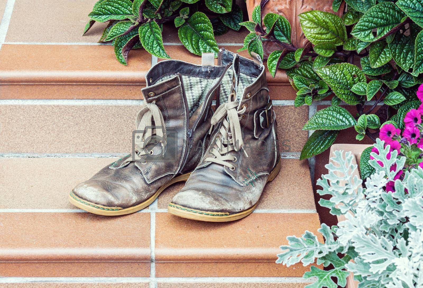 Pair of old worn out boots at doorstep with plants in background