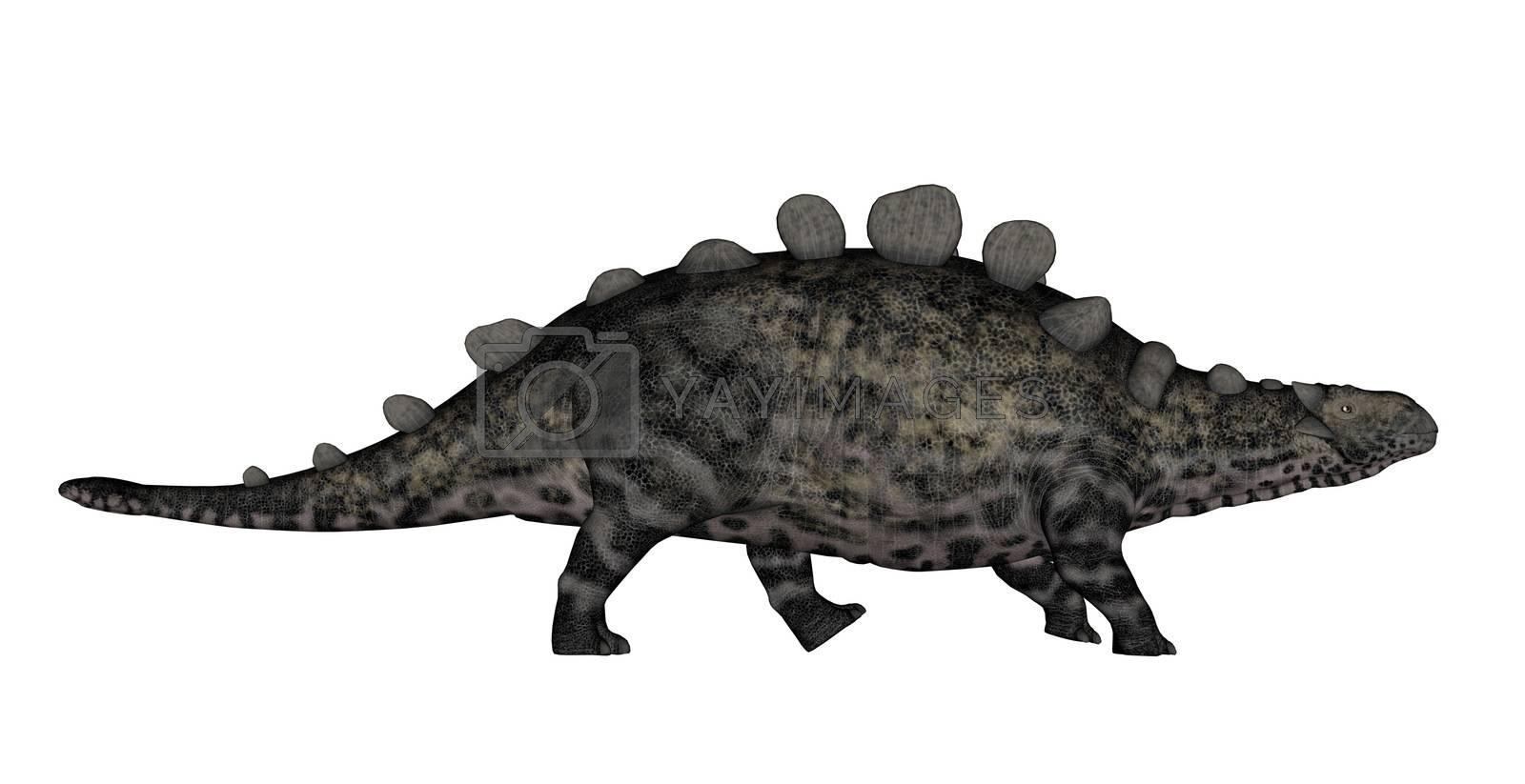 Chrichtonsaurus dinosaur walking isolated in white background - 3D render