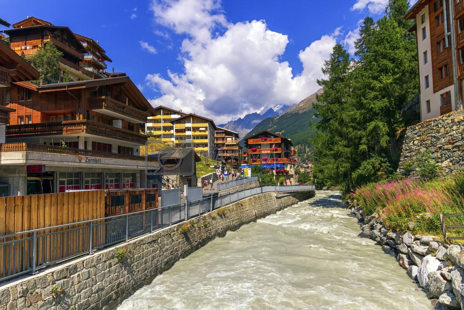 Matter Vispa river in Zermatt by day, Zermatt, Switzerland