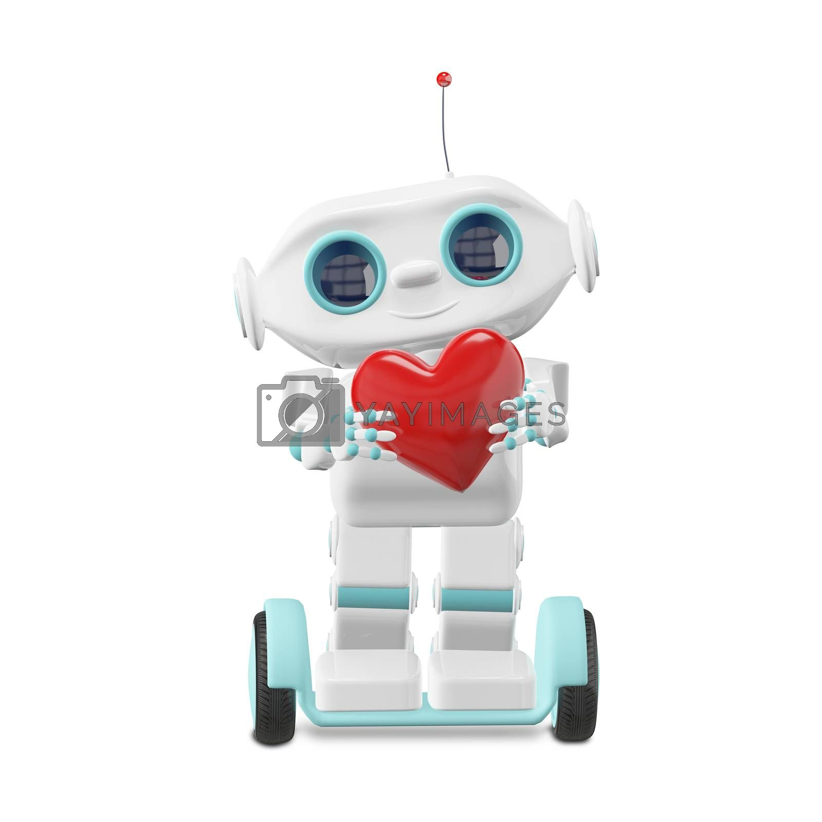 3D Illustration Little Robot with Heart on a White Background