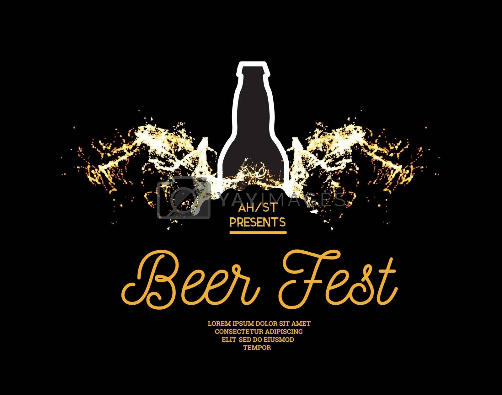 Royalty free image of Beer fest. Splash of beer with bubbles on a black background. Vector illustration with a silhouette of a bottle by sermax55