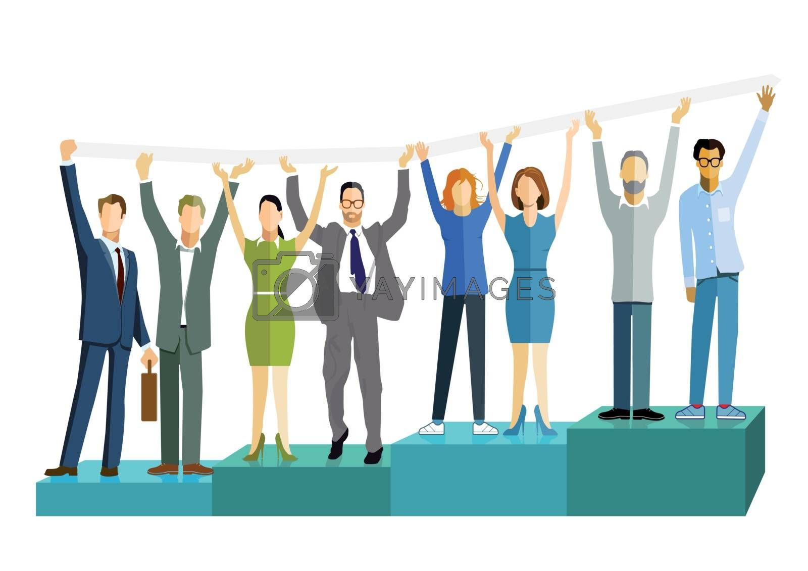 Business people with successful balance, business success, illustration