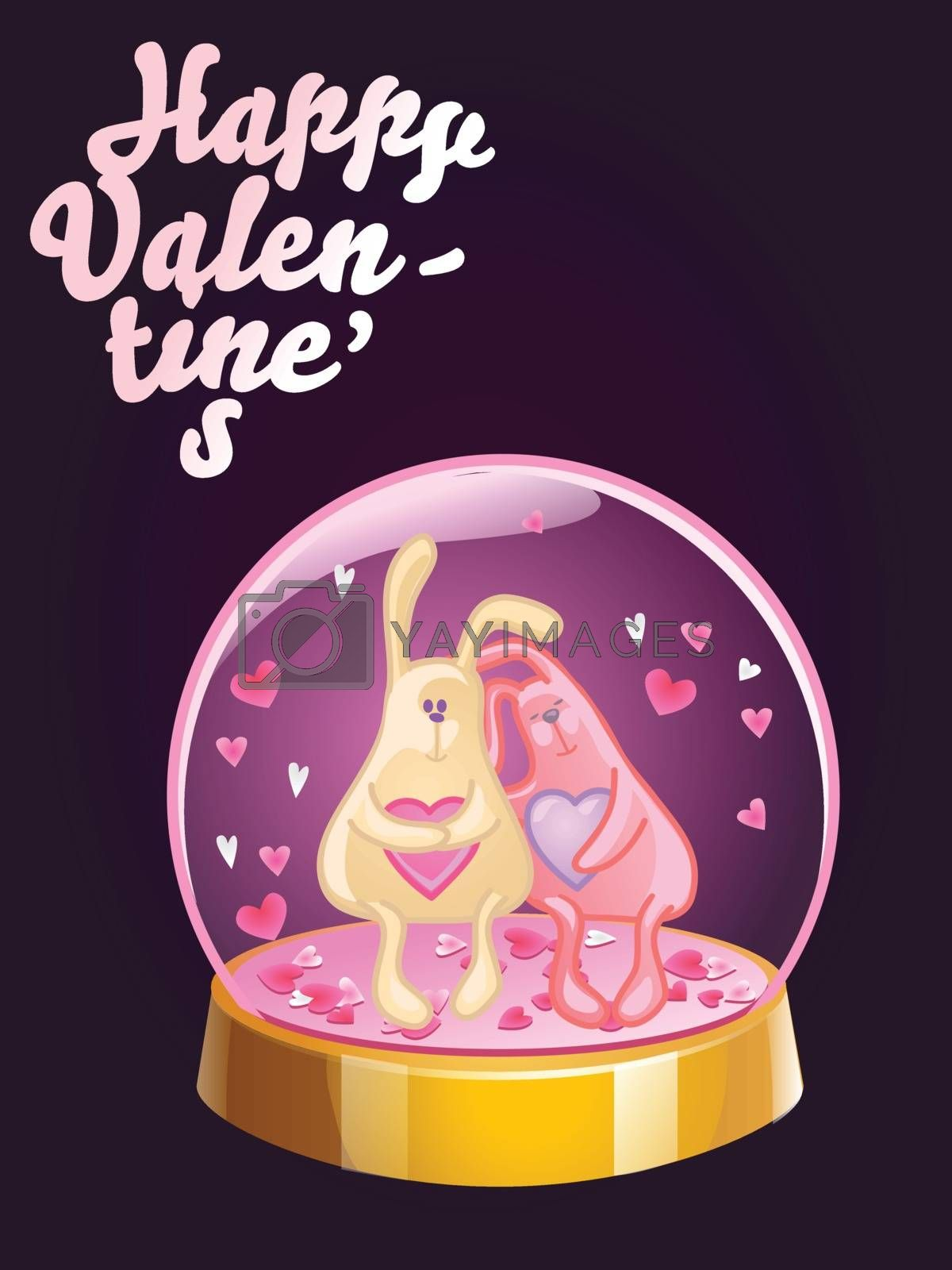 Romantic Happy Valentines Day card. Magic crystal ball with two rabbits and small pink hearts inside. Vector illustration by Nutela Pancake