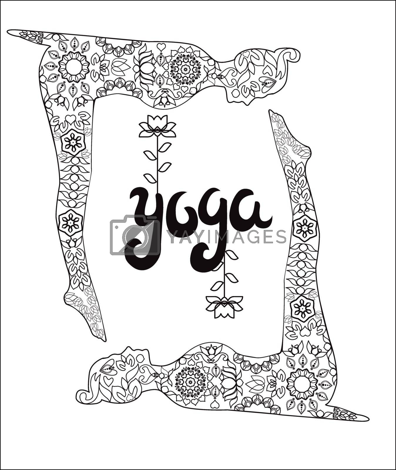 Yoga and meditation coloring book for adults With Yoga Poses, text Yoga and lotus.