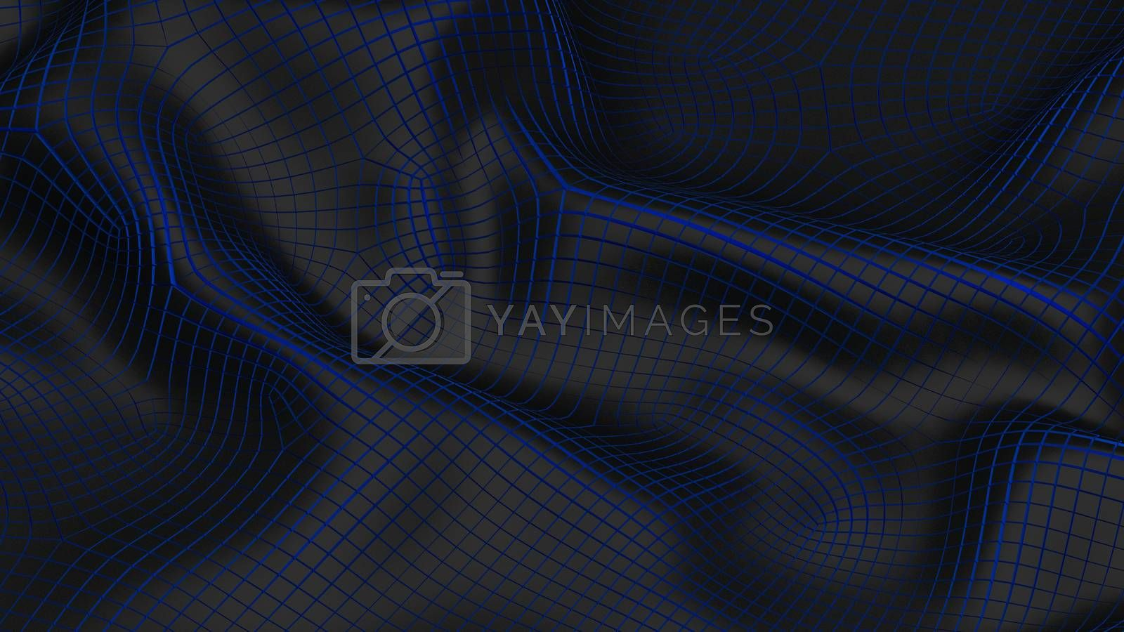 3D Illustration Abstract Black Background with Glare and with the Blue
