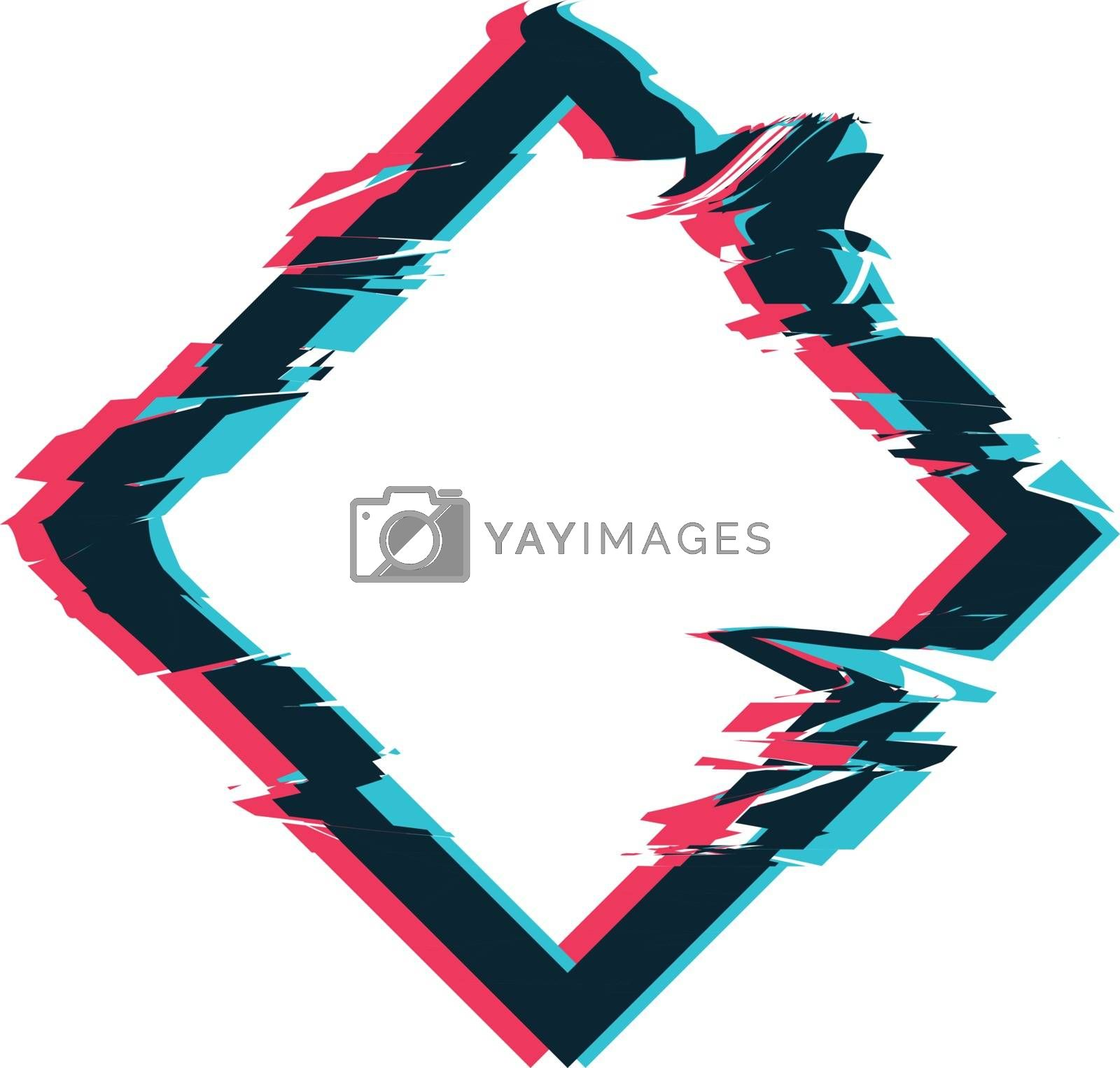 Royalty free image of Glitch distortion frame. Vector rhombus illustration by sermax55