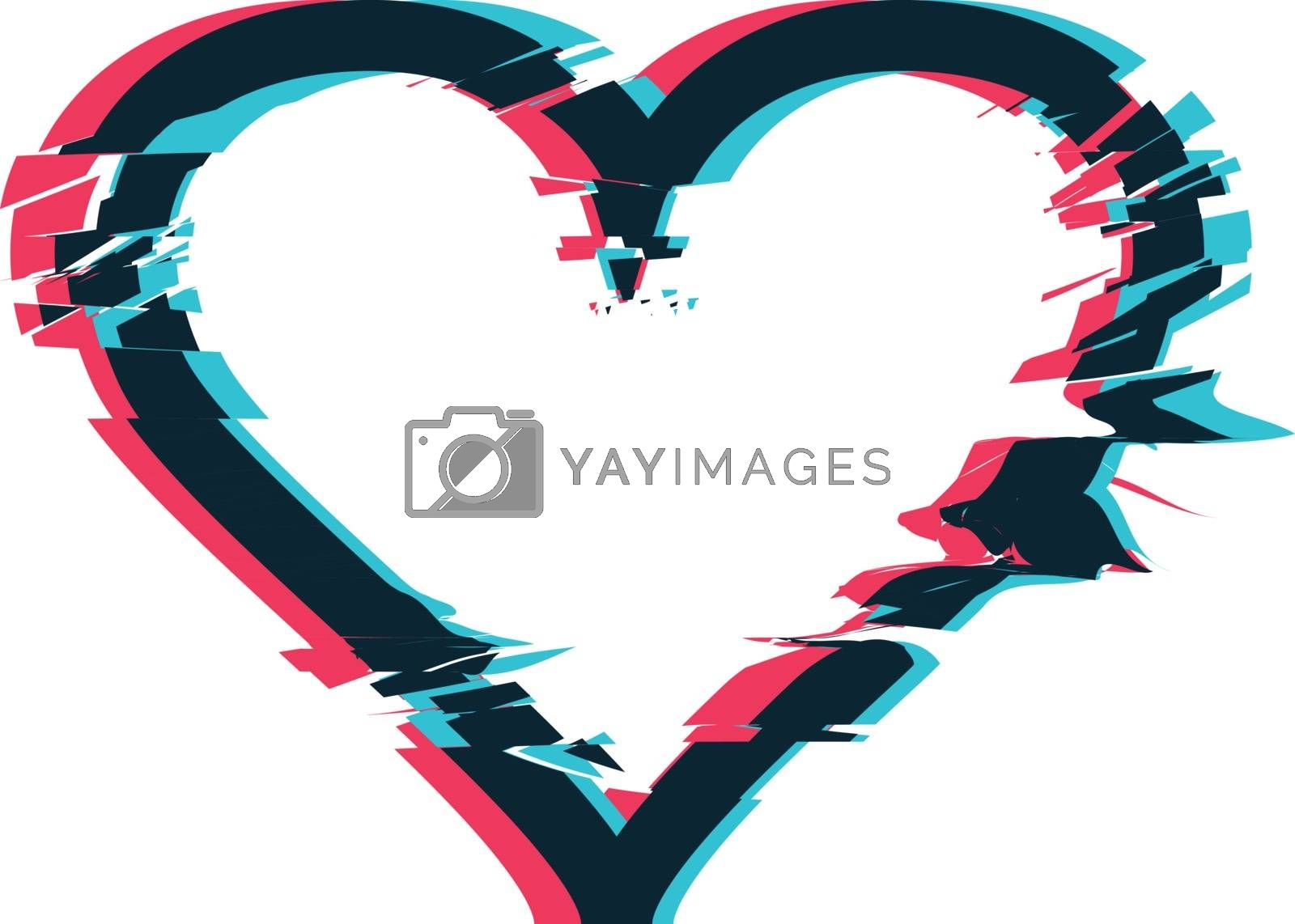Royalty free image of Glitch distortion frame. Vector heart illustration by sermax55