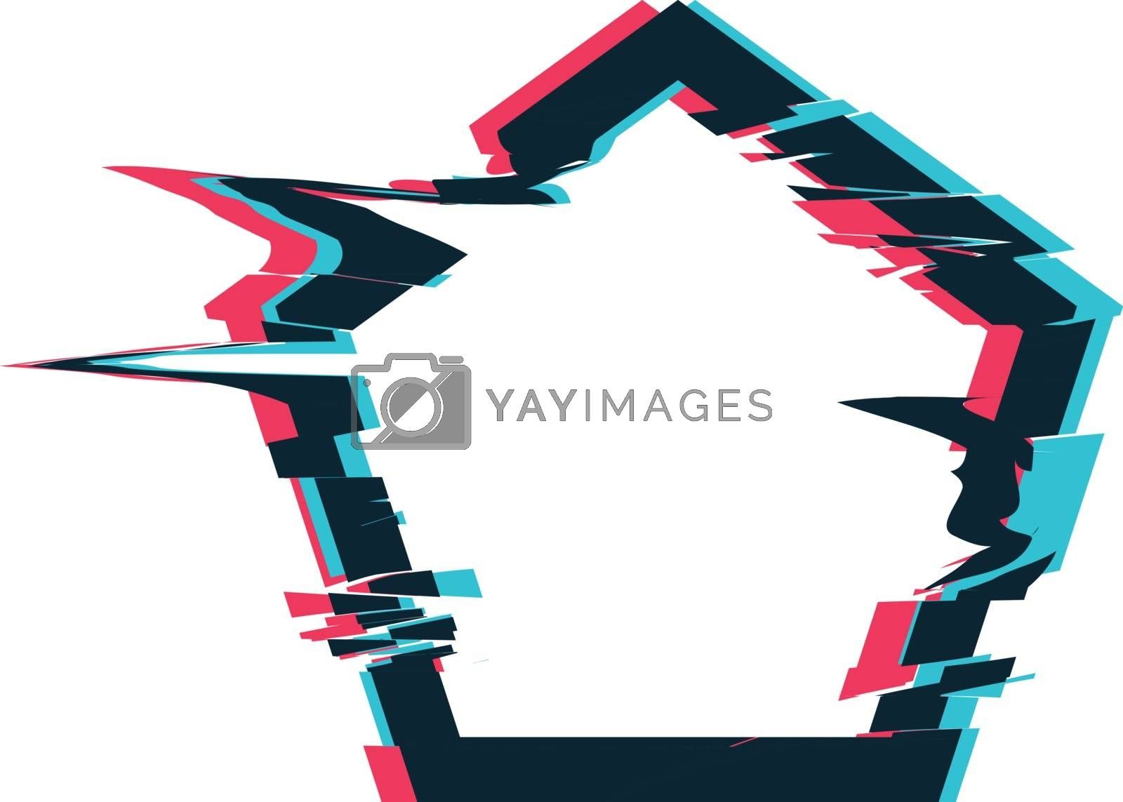 Royalty free image of Glitch distortion frame. Vector pentacon illustration by sermax55