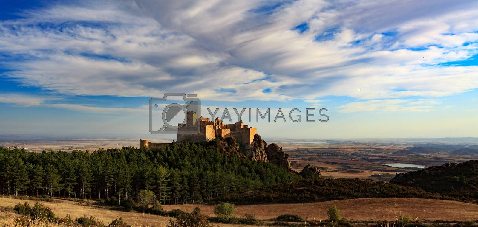 Landscape with medieval castle of Loarre, Spain