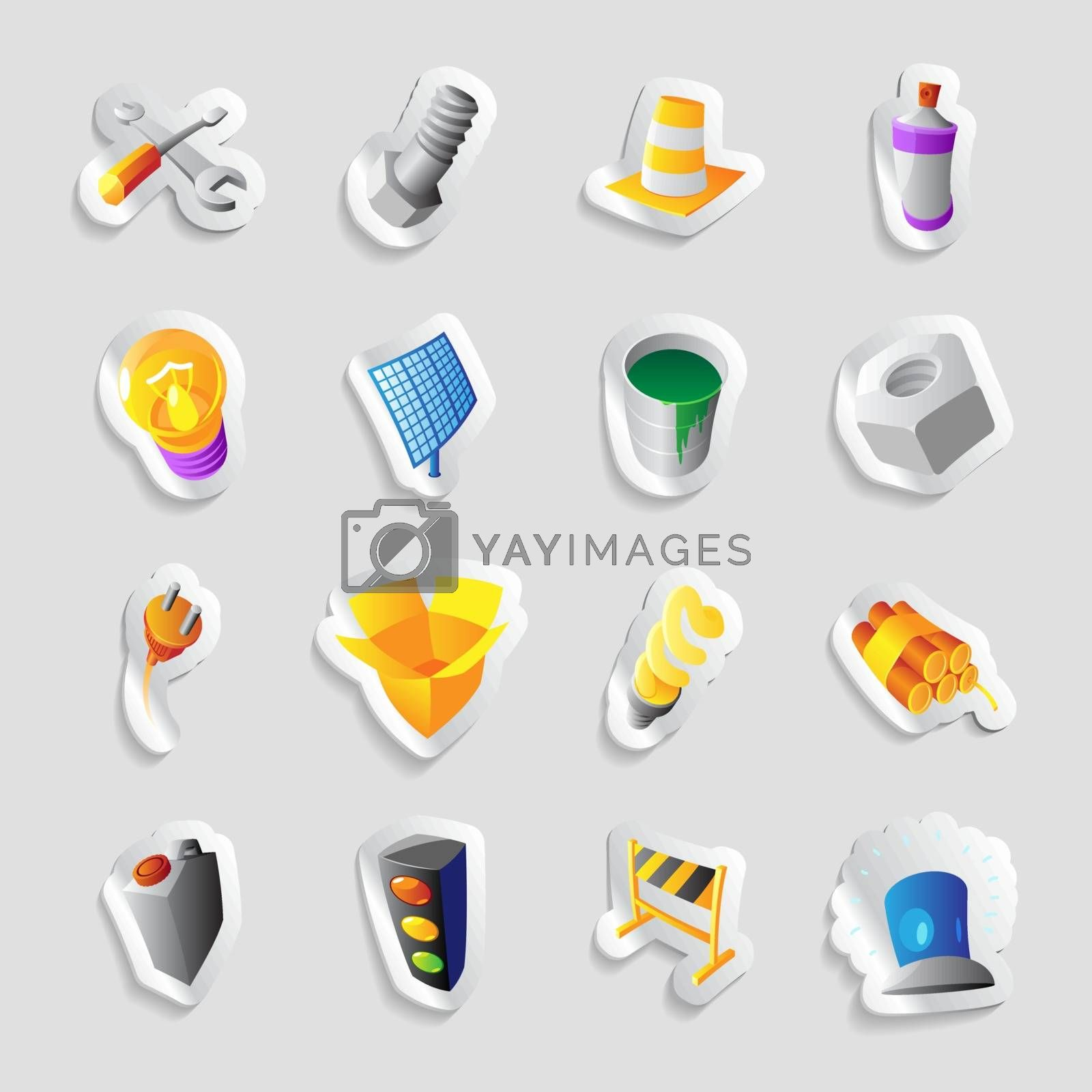 Icons for industry and technology. Vector illustration.
