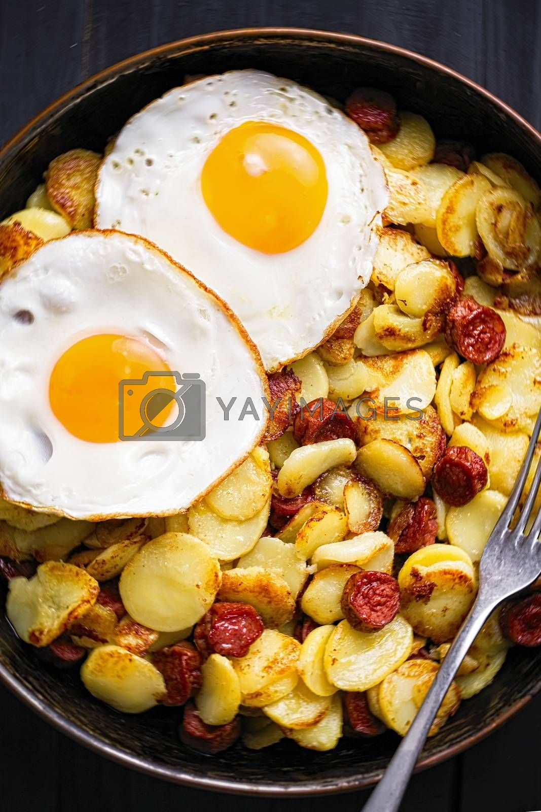 close up of rustic sausage hash breakfast