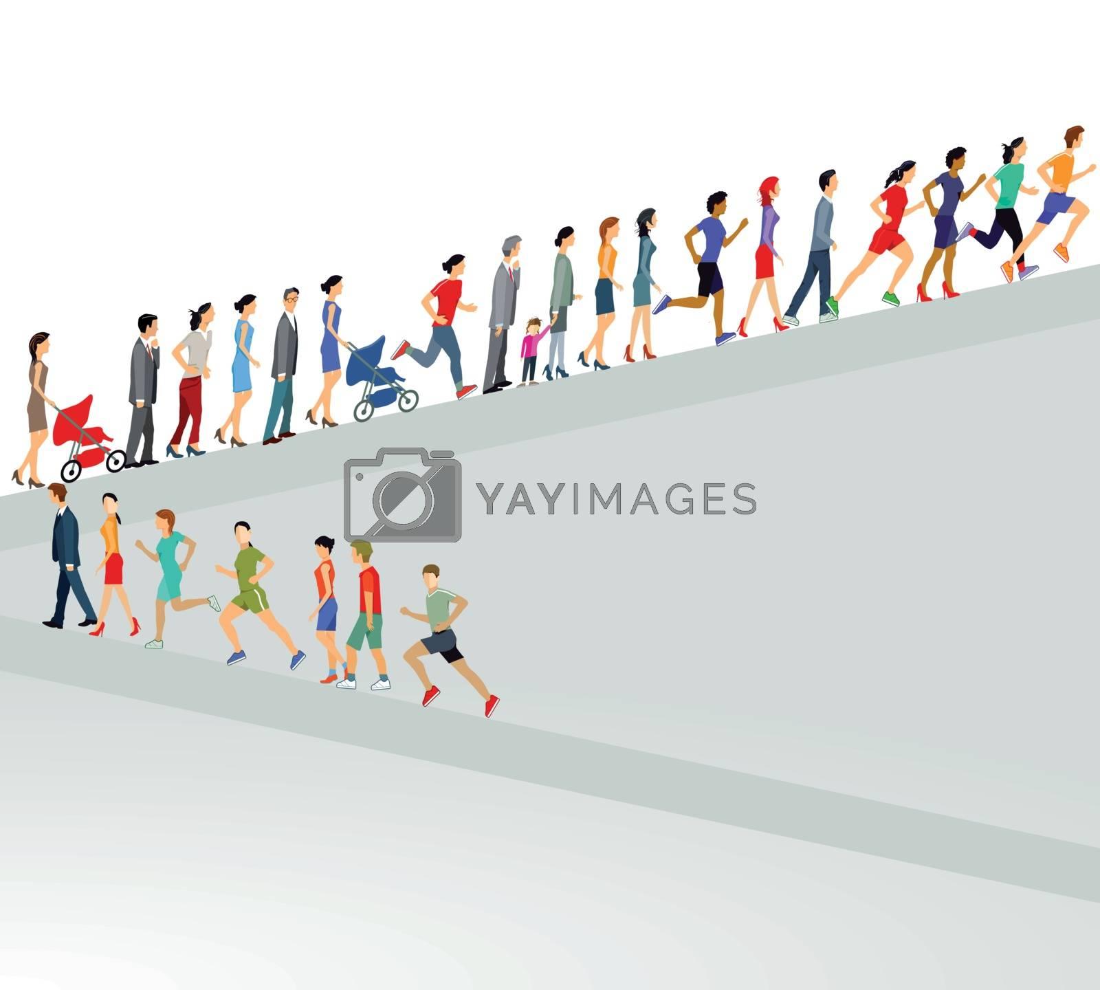 Large group goes up illustration