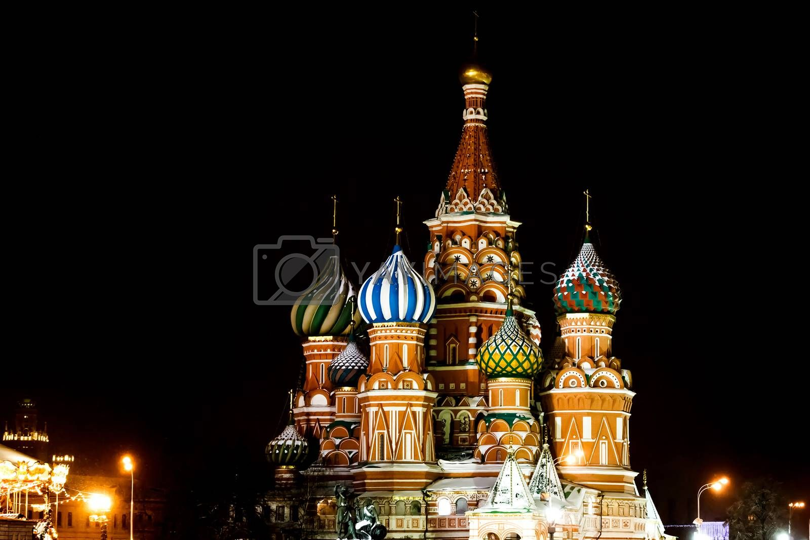 St Basils Cathedral at night. Winter season. Moscow, Russia