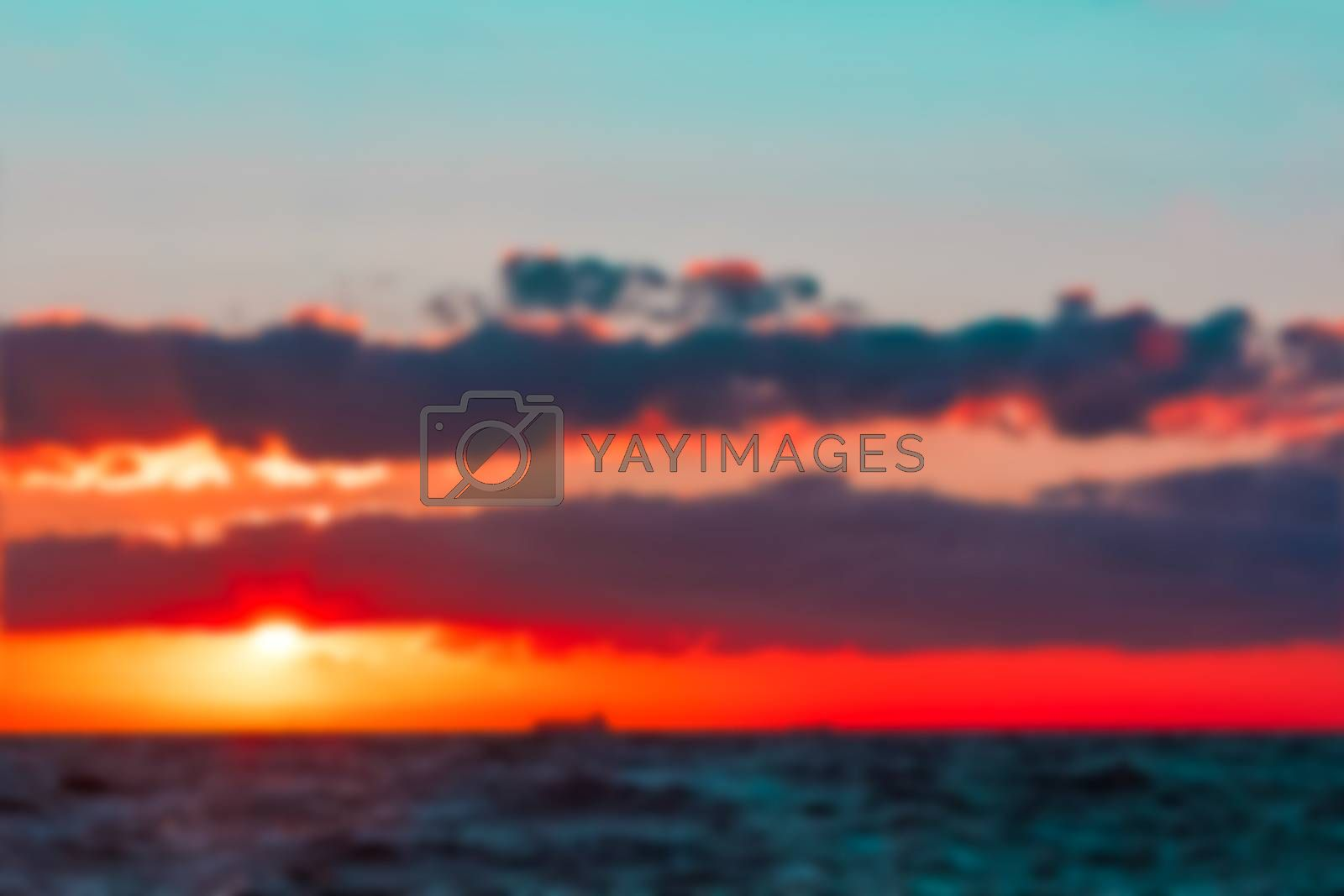Hot sunset - soft lens bokeh image. Defocused background
