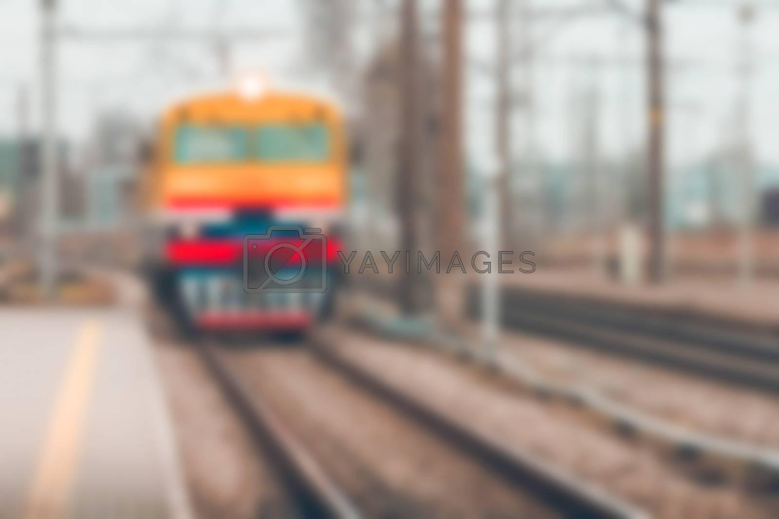 Passenger train - soft lens bokeh image. Defocused background