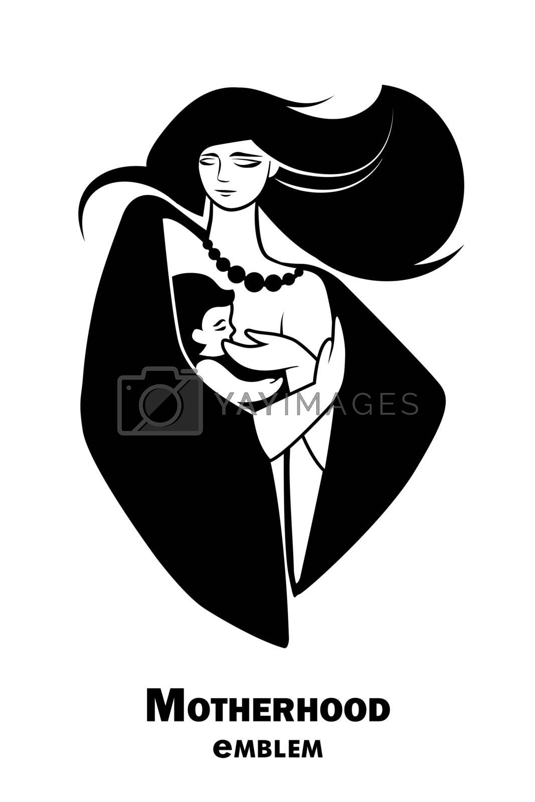 Emblem or simbol of mother and newborn baby. Mother holding child in arms and breastfeeding her. Vector vertical illustration with concept for family, motherhood, maternity, childbearing, mother's day, love and care. Eps10.