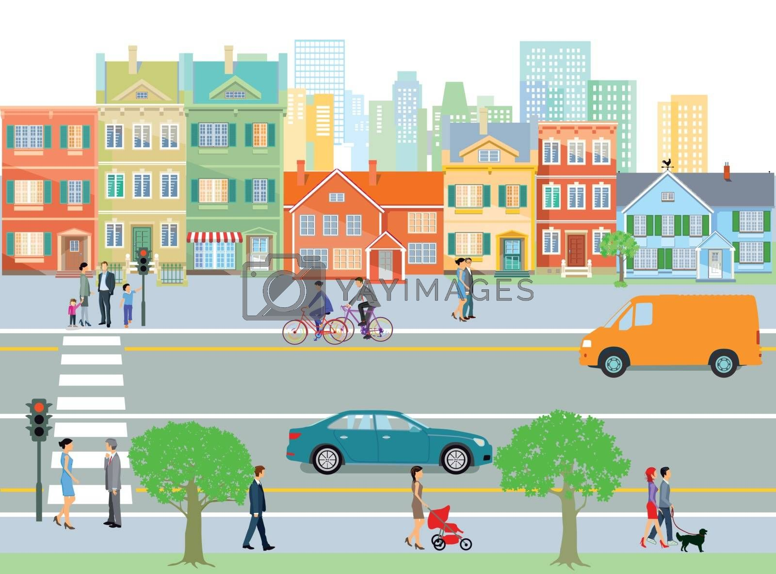 City with traffic and pedestrians, illustration