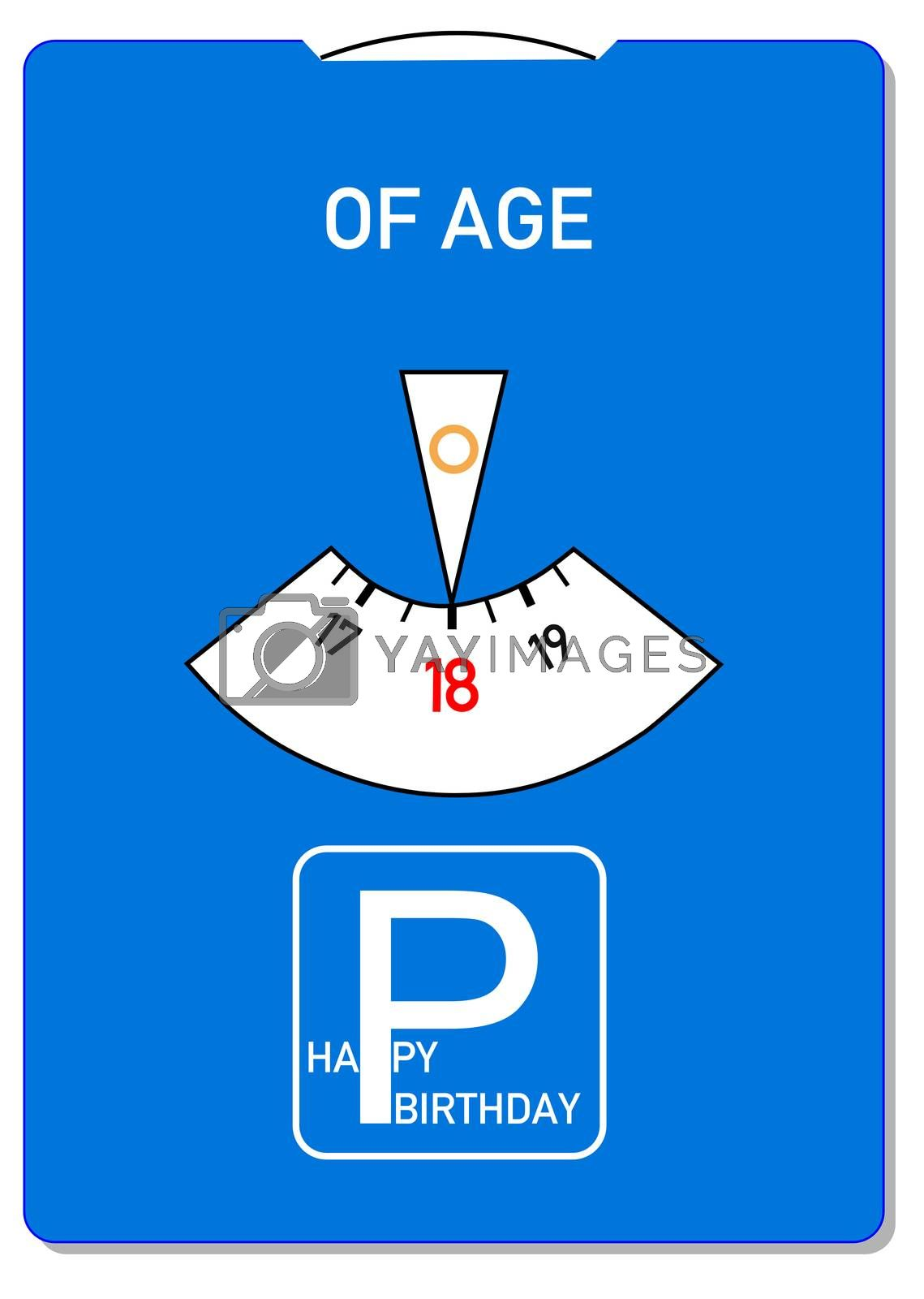 Birthday card for 18th birthday with the word of age