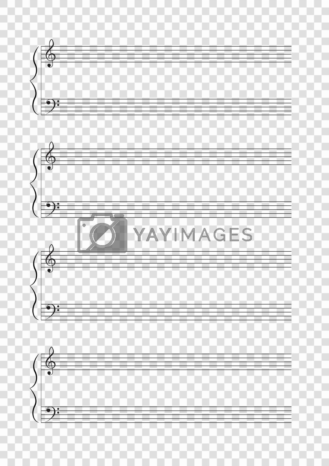 Blank A4 music notes with treble and bass clef. Vector illustartion