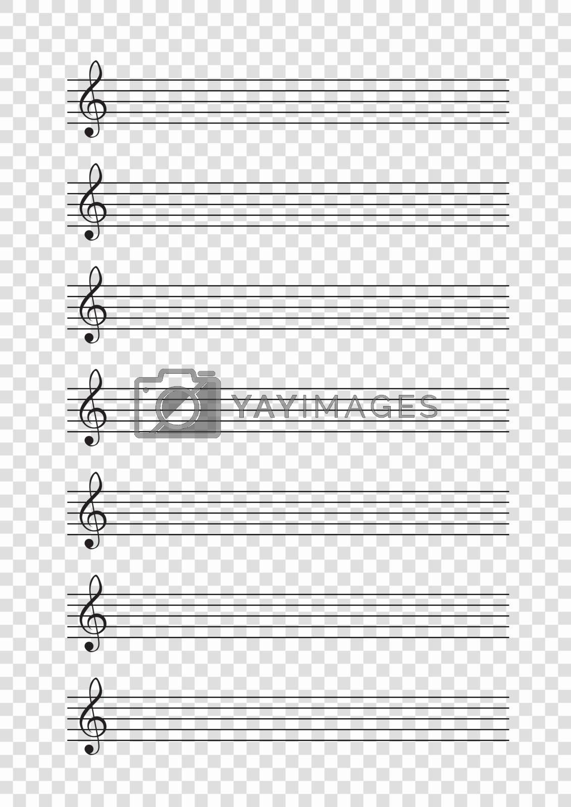 Blank A4 music notes with treble clef. Vector illustartion