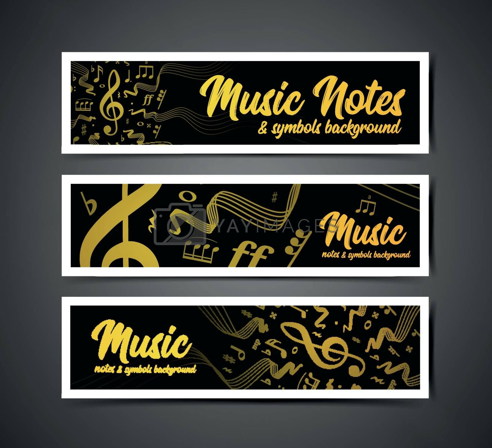 Wavy music staves. Vector illustration set on grey background