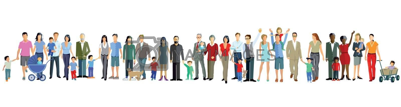 Families and generation are together, illustration