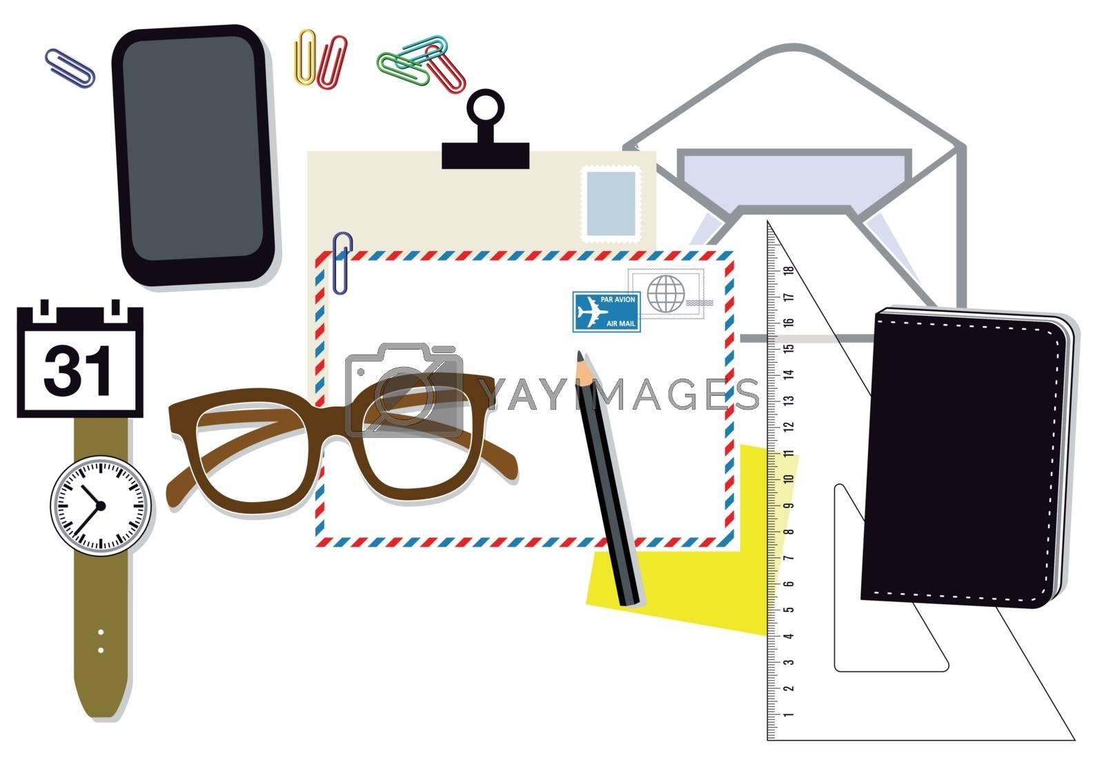 Desk top view illustration