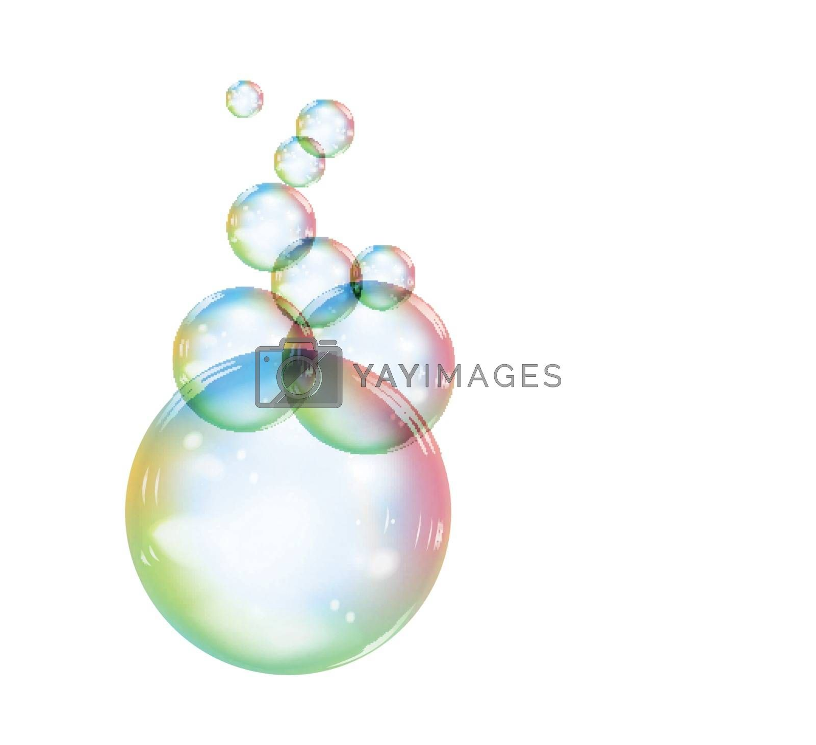 Rainbow soap bubble on a white background, on a transparent background. Realistic vector illustration