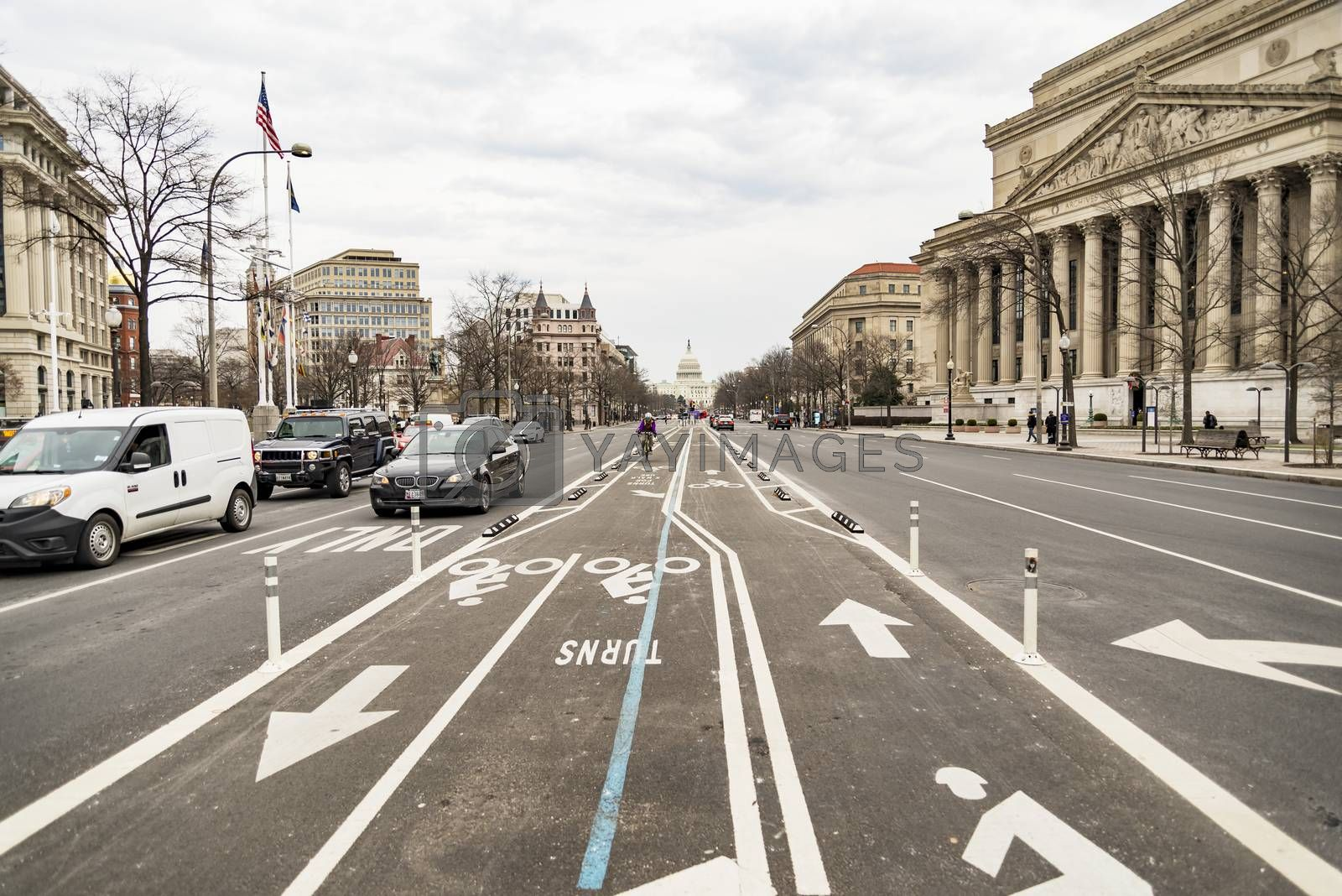 Washington D.C., USA - DECEMBER 20: Constitution Avenue Street leading to the Capitol Street, on December 20, 2017 in Washington DC