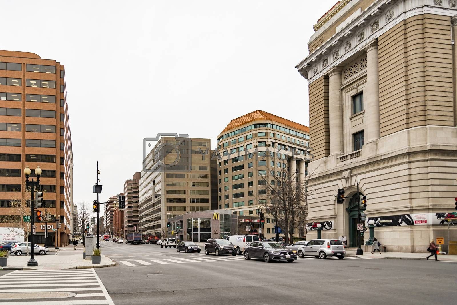 WASHINGTON D.C., USA - DECEMBER 20: Streets and architecture of Washington DC early morning. Washington is the capital of the United States on December 20, 2017, in Washington DC