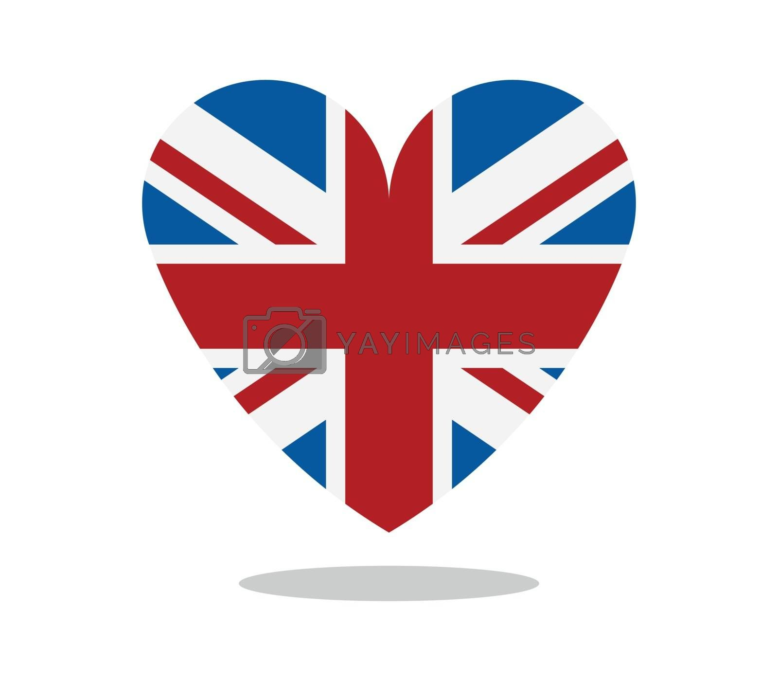 britain flag with heart