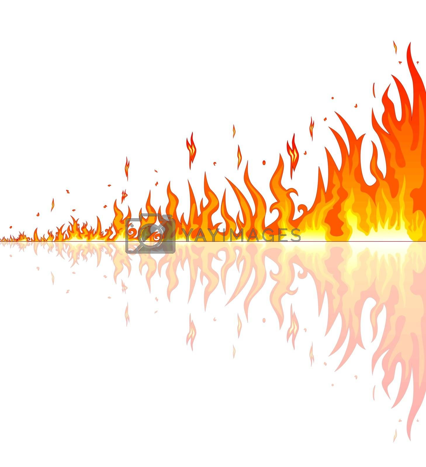 Flames burning fire. Abstract fire on a white background. Border of abstract fire.