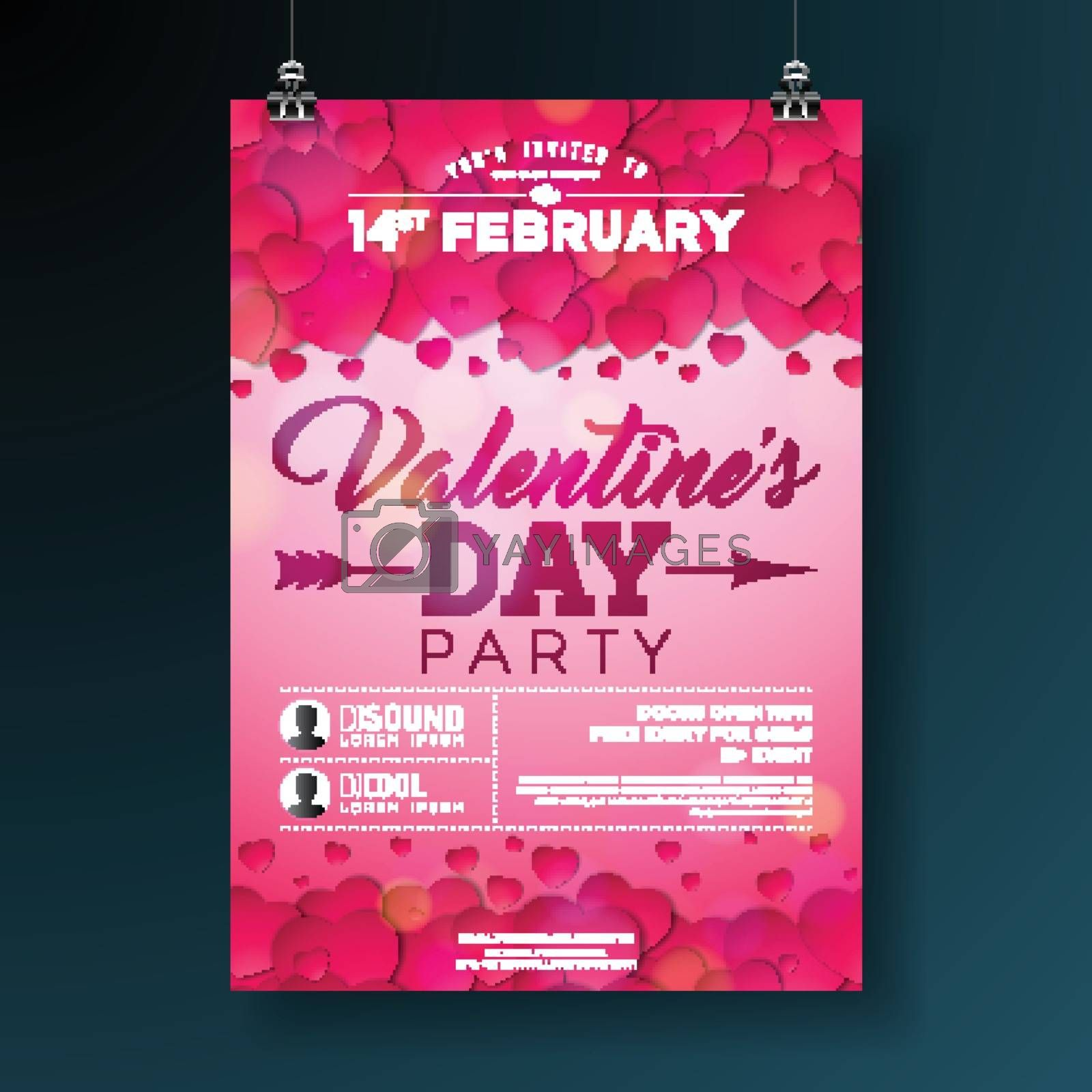 Vector Valentines Day Party Flyer Illustration with Typography and Red Heart on Pink Background. Celebration Poster Template Design for Invitation or Greeting Card. by articular