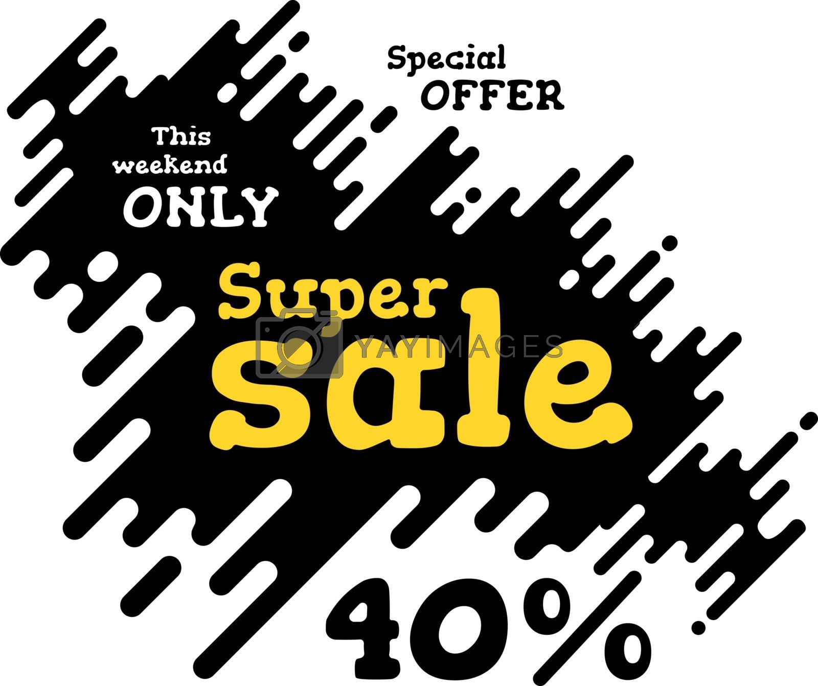 Sale illustration with rounded lines background. Vector