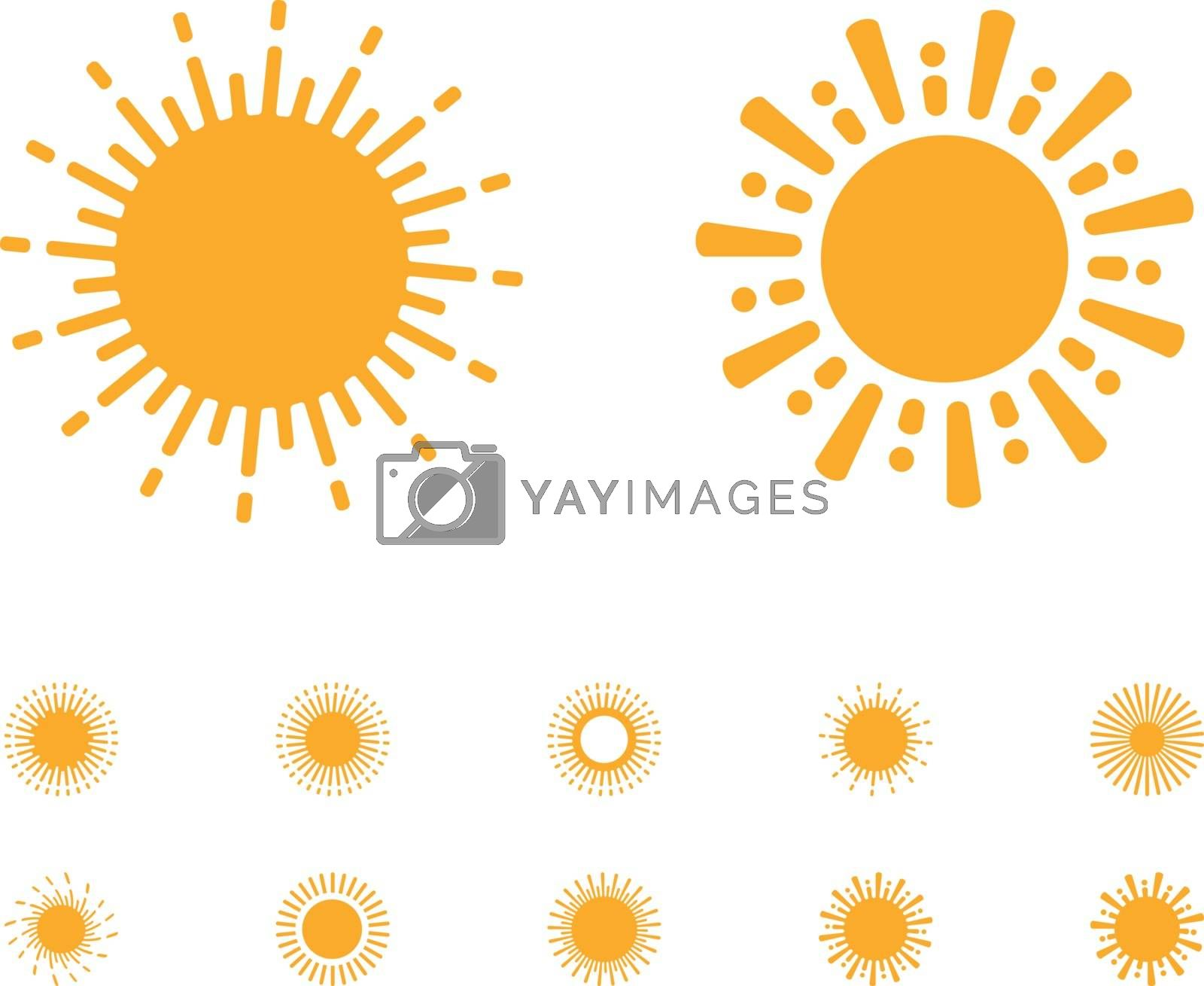 Sun vector collection on white background in rounded lines style