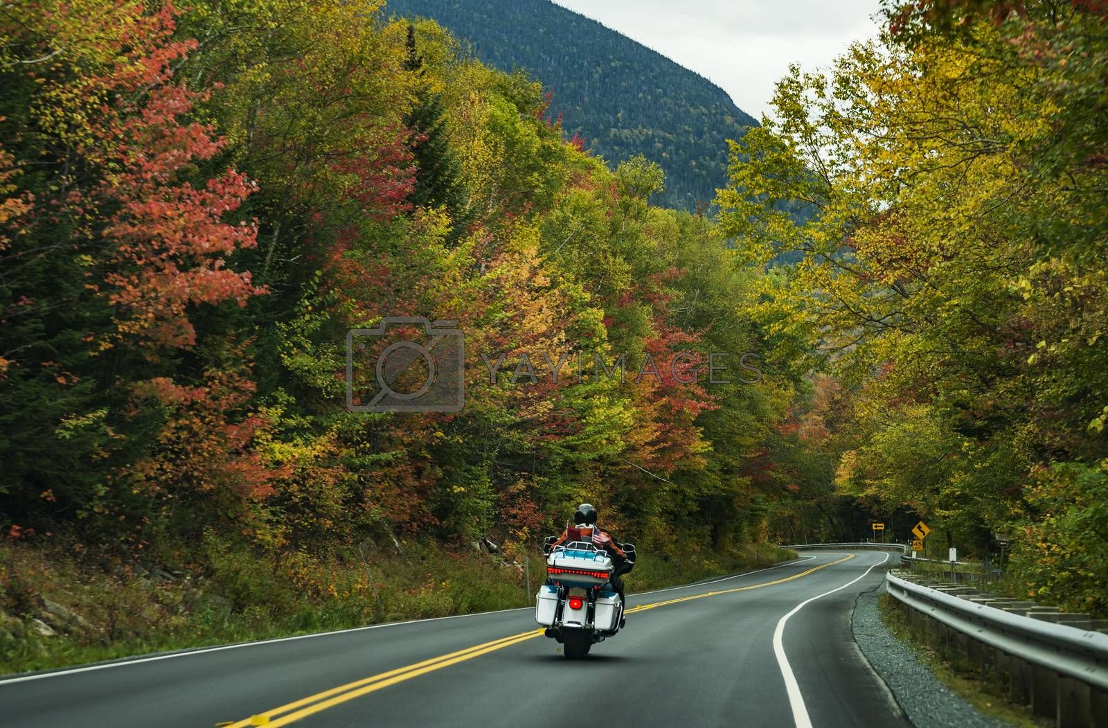 Motorcycle driving on the road on the White Mountains during the fall, New Hampshire, USA