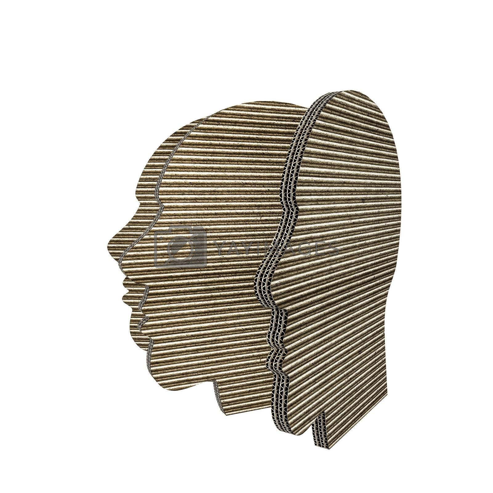 3d illustration of cardboard heads isolated on white background