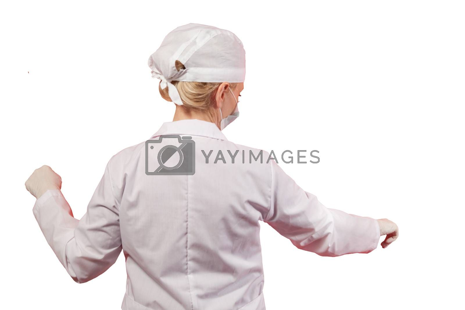 A female doctor or nurse with her back to the camera. Isolated with work path.