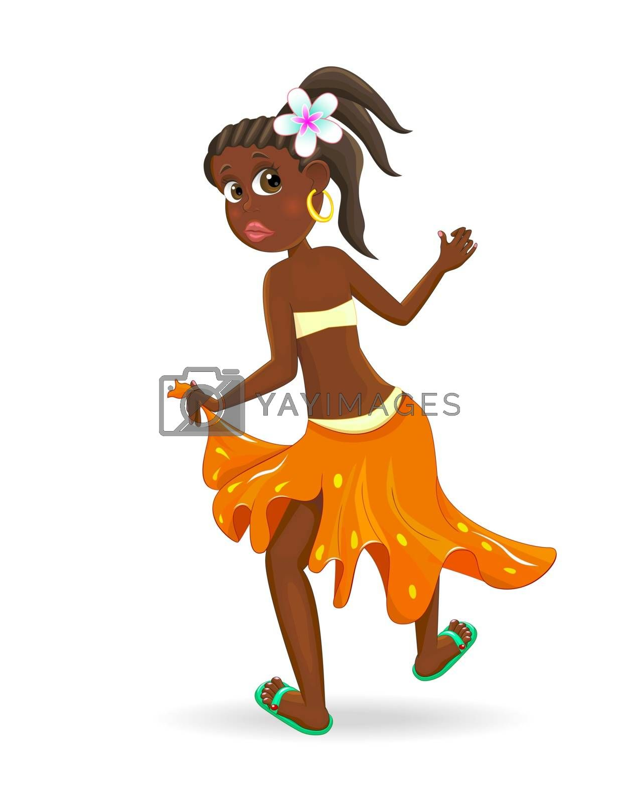 Dancing little African girl. Little girl is dancing on a white background.