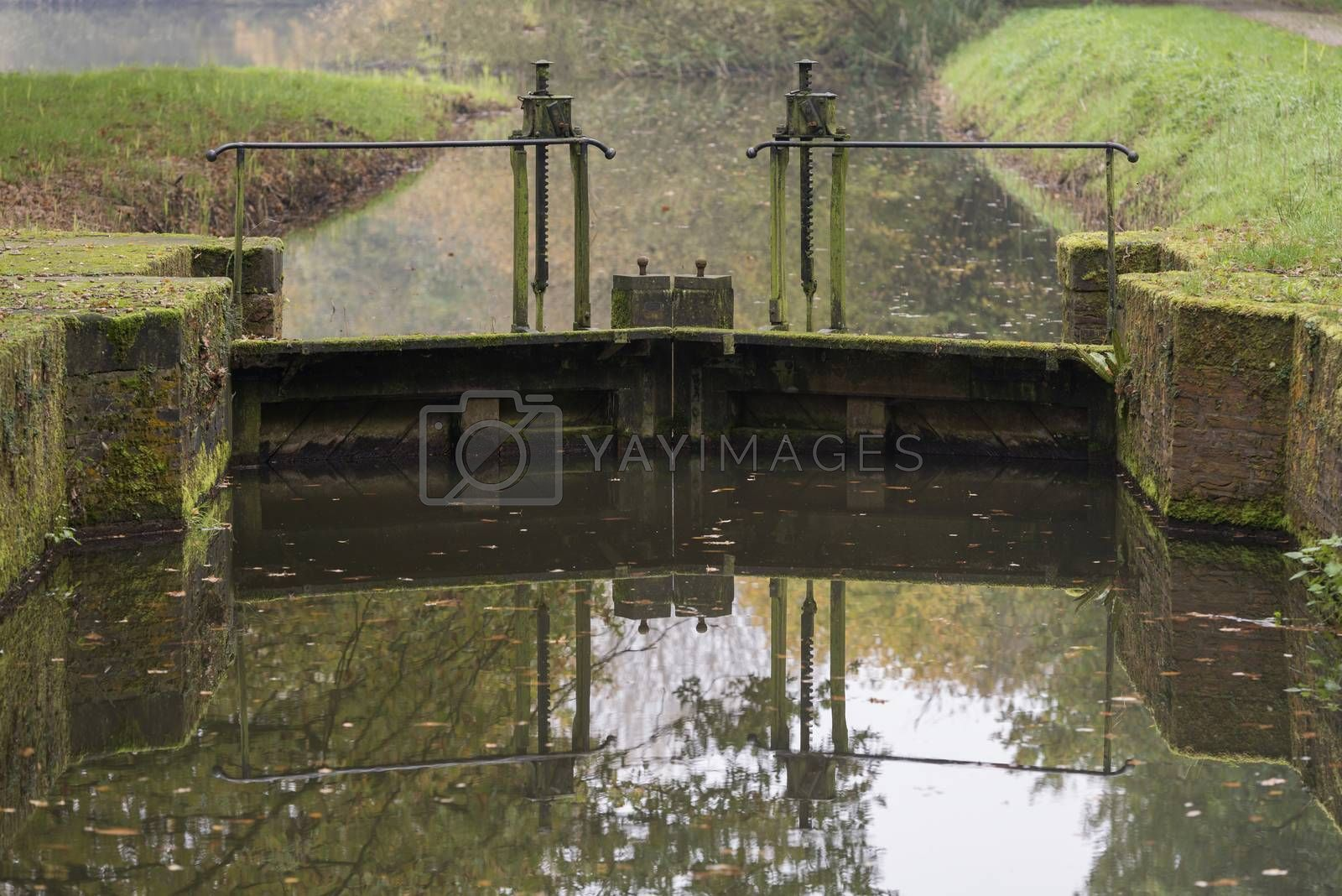 The authentic and monumental lock next to the Mallumse mill in Eibergen in the region Achterhoek in the Netherlands