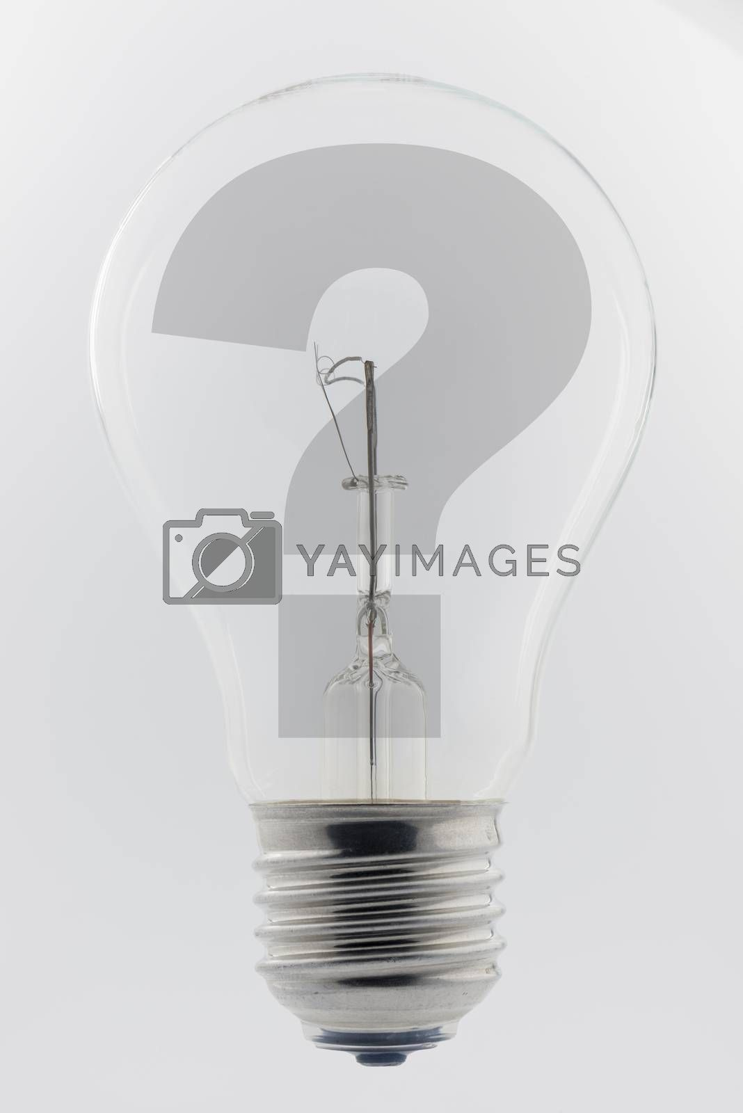 Photo of an old light bulb with a question mark