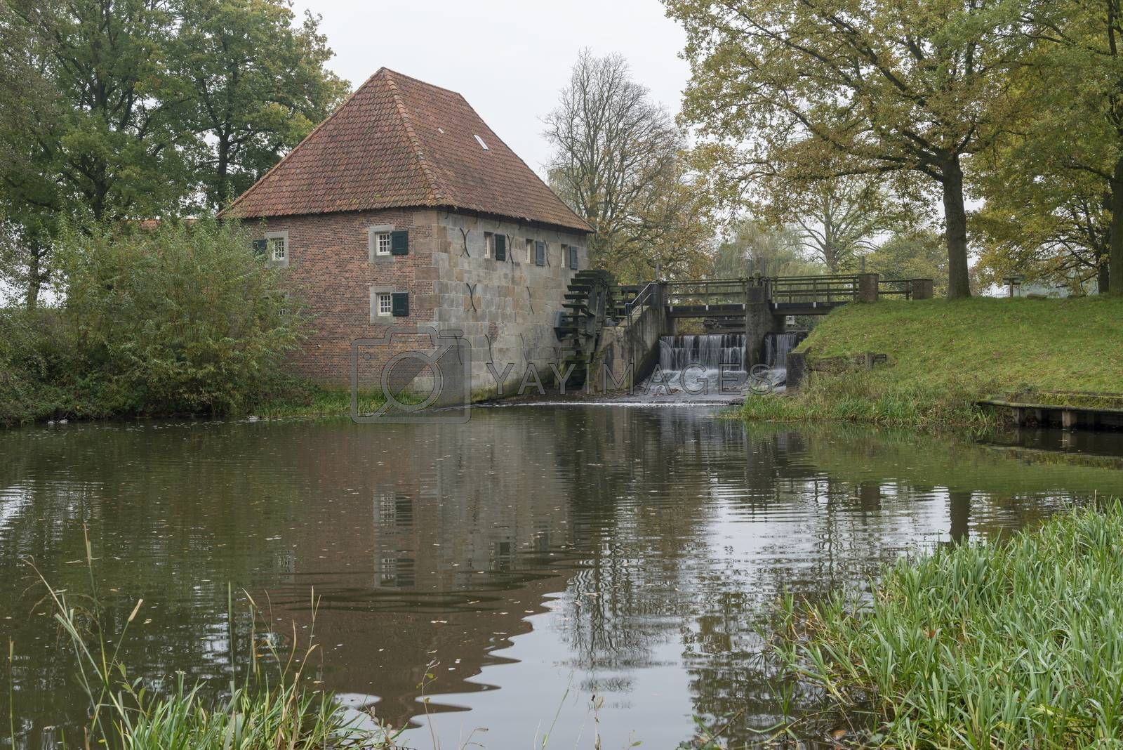 The authentic and monumental Mallumse water mill in Eibergen in the region Achterhoek in the Netherlands