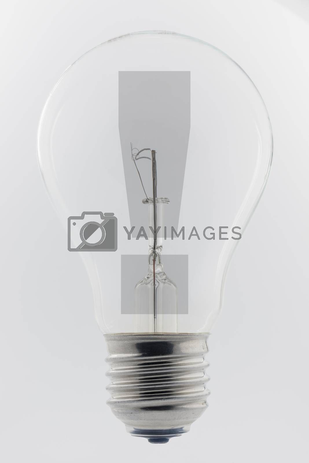 Photo of an old light bulb with an exclamation mark