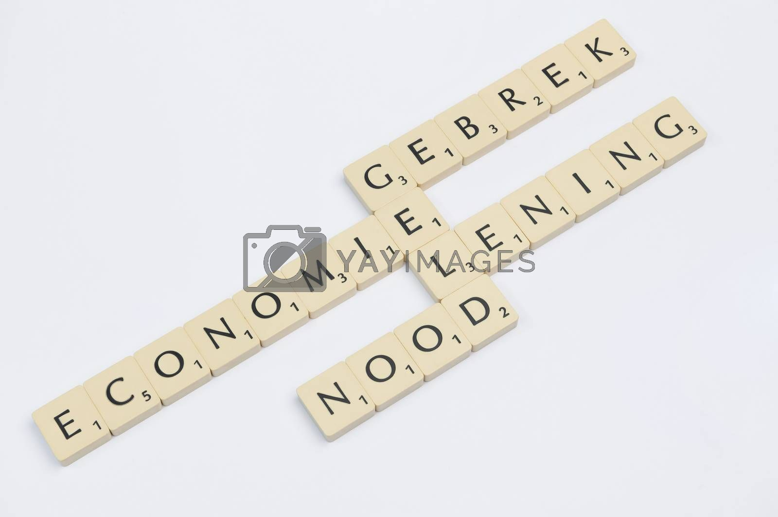 Four scrabble words related to the word money in Dutch