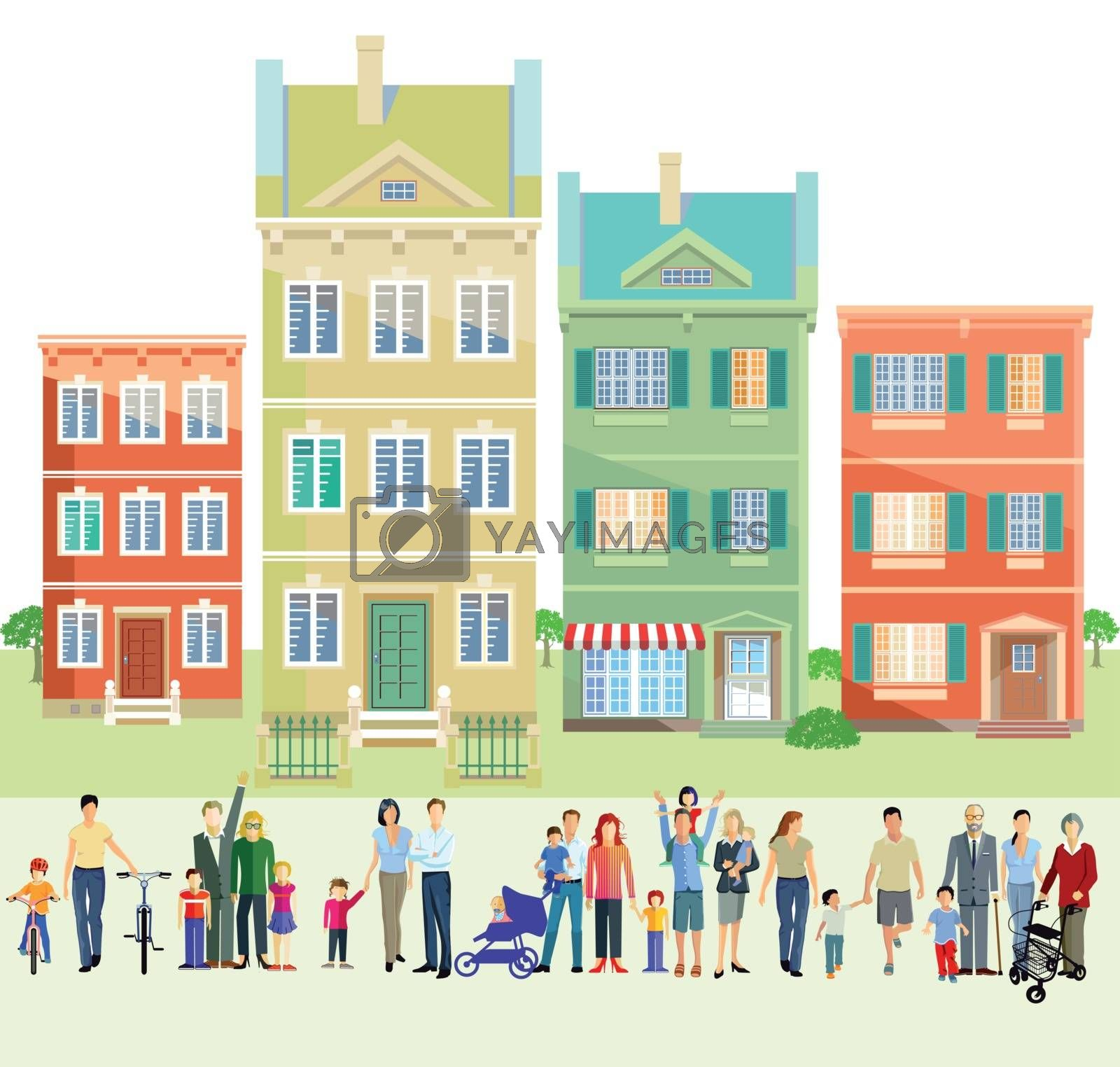 Family groups in front of houses, illustration