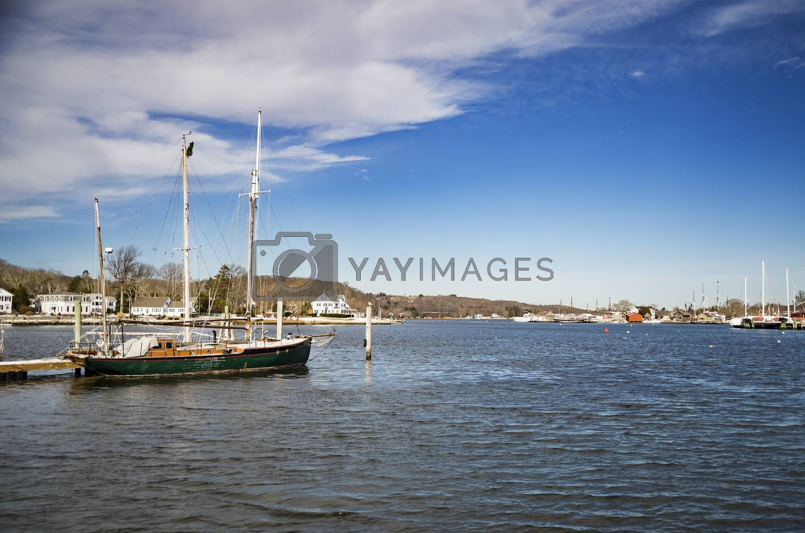 View of Mystic, Connecticut. The village is located on the Mystic River, which flows into Long Island Sound, providing access to the sea.